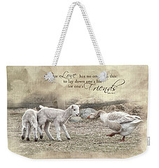 Weekender Tote Bag featuring the photograph No Greater Love by Robin-Lee Vieira
