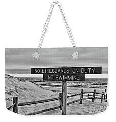 No Lifeguards On Duty Black And White Weekender Tote Bag by Paul Ward