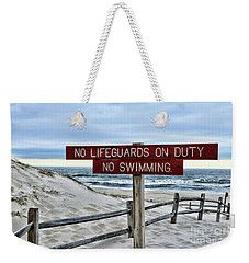 No Lifeguards On Duty Weekender Tote Bag by Paul Ward