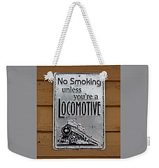 Weekender Tote Bag featuring the photograph No Smoking Unless Youre A Locomotive by Suzanne Gaff