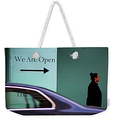 No We Are Closed  Weekender Tote Bag by Empty Wall