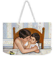Weekender Tote Bag featuring the painting Noah Takes Time For Kira by Marlene Book