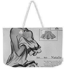 Weekender Tote Bag featuring the digital art no...no... Natalie by Reinvintaged