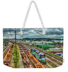 Weekender Tote Bag featuring the photograph Norfolk Southern Locomotive 654 Atlanta Inman Yard Intermodal Train Art by Reid Callaway