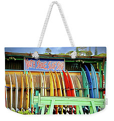 Weekender Tote Bag featuring the photograph North Shore Surf Shop 1 by Jim Albritton