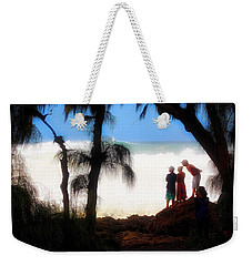 Weekender Tote Bag featuring the photograph North Shore Wave Spotting by Jim Albritton