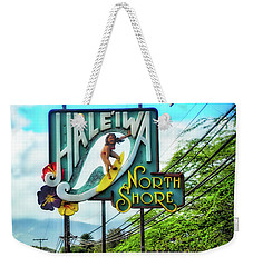 North Shore's Hale'iwa Sign Weekender Tote Bag by Jim Albritton