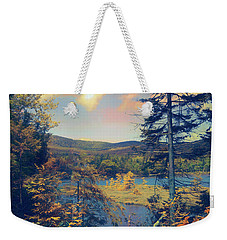Weekender Tote Bag featuring the photograph North South Lake by John Rivera