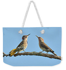 Northern Flickers Communicate Weekender Tote Bag by Alan Lenk