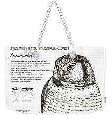 Northern Hawk-owl Infographic Poster Weekender Tote Bag