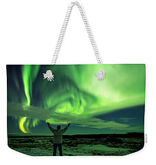 Northern Light In Western Iceland Weekender Tote Bag