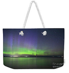 Northern Light With Perseid Meteor Weekender Tote Bag by Charline Xia