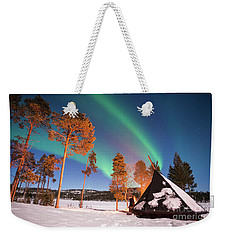 Weekender Tote Bag featuring the photograph Northern Lights By The Lake by Delphimages Photo Creations