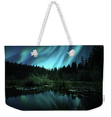 Northern Lights Over Lily Pond Weekender Tote Bag