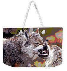 Weekender Tote Bag featuring the mixed media Norway Wolf by Charles Shoup