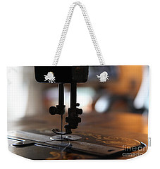 Weekender Tote Bag featuring the photograph Nostalgia ...sewing Machine Detail  by Lynn England