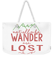 Weekender Tote Bag featuring the digital art Not All Who Wander Are Lost In Pink by Heather Applegate
