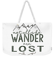 Weekender Tote Bag featuring the digital art Not All Who Wander Green by Heather Applegate