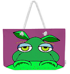 Weekender Tote Bag featuring the digital art Not Amused by Yshua The Painter