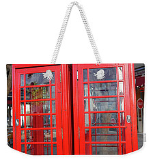 Not Quite Identical Twin Phone Boxes In Gibraltar Weekender Tote Bag