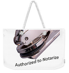 Notary Public Slogan Weekender Tote Bag by Phil Cardamone