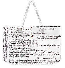 Weekender Tote Bag featuring the mixed media Notes by Carolyn Weltman