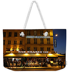 Weekender Tote Bag featuring the photograph Notre Dame Cafe by Andrew Fare
