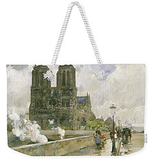Notre Dame Cathedral - Paris Weekender Tote Bag by Childe Hassam