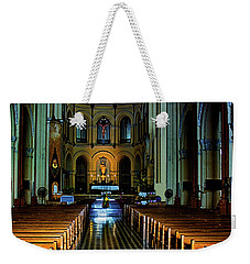 Weekender Tote Bag featuring the photograph Notre Dame Cathedral Saigon by Joseph Hollingsworth