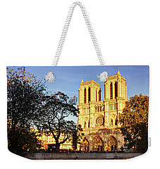 Weekender Tote Bag featuring the photograph Notre Dame De Paris Facade by Barry O Carroll