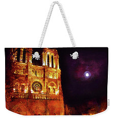 Weekender Tote Bag featuring the painting Notre Dame In The Autumn Moonlight by Menega Sabidussi