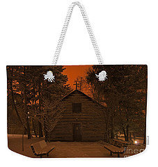 Notre Dame Log Chapel Winter Night Weekender Tote Bag by John Stephens