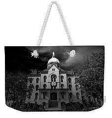 Notre Dame University Black White 3a Weekender Tote Bag by David Haskett