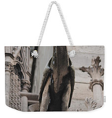 Weekender Tote Bag featuring the photograph Rain Spouting Gargoyle. by Christopher Kirby