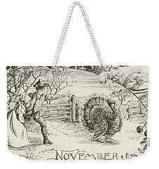 November   Vintage Thanksgiving Card Weekender Tote Bag