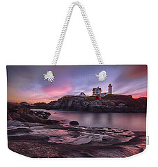 Nubble Lighthouse At Sunrise York Me Weekender Tote Bag