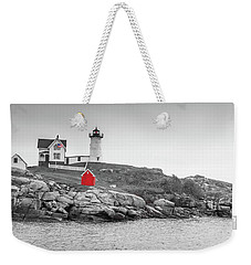 Weekender Tote Bag featuring the photograph Nubble Lighthouse In Color And Black And White by Doug Camara