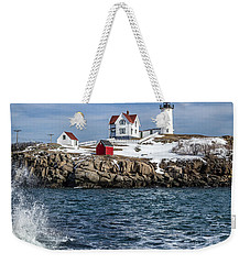 Nubble Lighthouse Winter Weekender Tote Bag