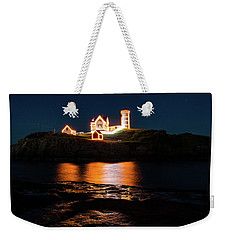 Weekender Tote Bag featuring the photograph nubble Lighthouse, York Maine by Jeff Folger