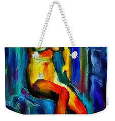 Nude Female Figure Portrait Artwork Painting In Blue Vibrant Rainbow Colors And Styles Warm Style Undersea Adventure In Blue Mythology Siren Women And Not Sensual Weekender Tote Bag