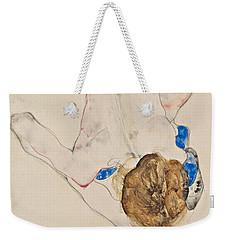 Nude With Blue Stockings, Bending Forward Weekender Tote Bag