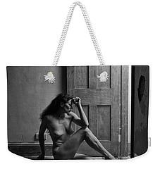 Nude Woman Sitting By Doorway In Abandoned Room Weekender Tote Bag
