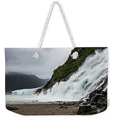 Weekender Tote Bag featuring the photograph Nugget Falls And The Mendenhall by Ed Clark