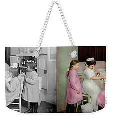 Weekender Tote Bag featuring the photograph Nurse - Playing Nurse 1918 - Side By Side by Mike Savad