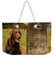 Weekender Tote Bag featuring the photograph Nute In The Cemetery by Jean Noren