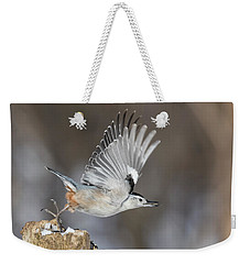 Weekender Tote Bag featuring the photograph Nuthatch In Action by Mircea Costina Photography