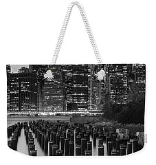 Weekender Tote Bag featuring the photograph Nyc Skyline Bw by Laura Fasulo