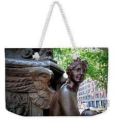 Nyc Library Angel Weekender Tote Bag