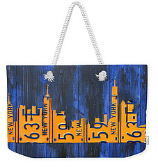 Nyc New York City Skyline With Lady Liberty And Freedom Tower Recycled License Plate Art Weekender Tote Bag