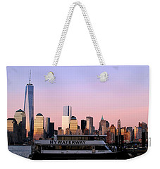 Nyc Skyline With Boat At Pier Weekender Tote Bag by Matt Harang